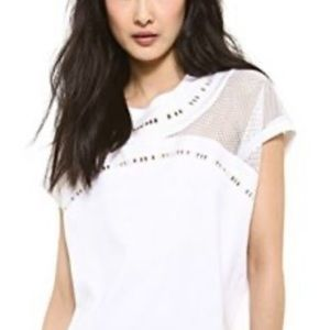 Robert Rodriguez White Mesh Embroidery Top S